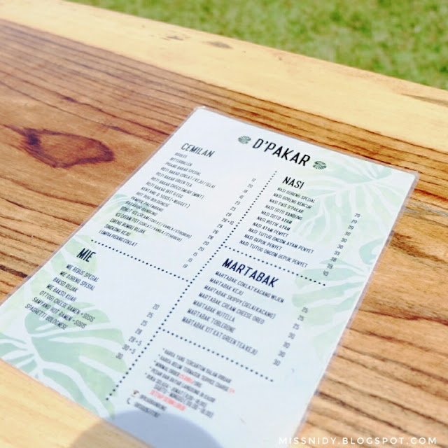 menu di cafe d'pakar bandung