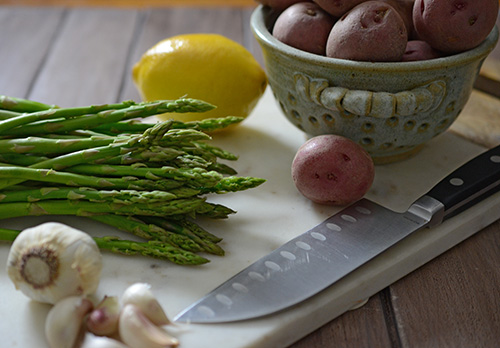 red bliss potatoes, asparagus, garlic, lemon