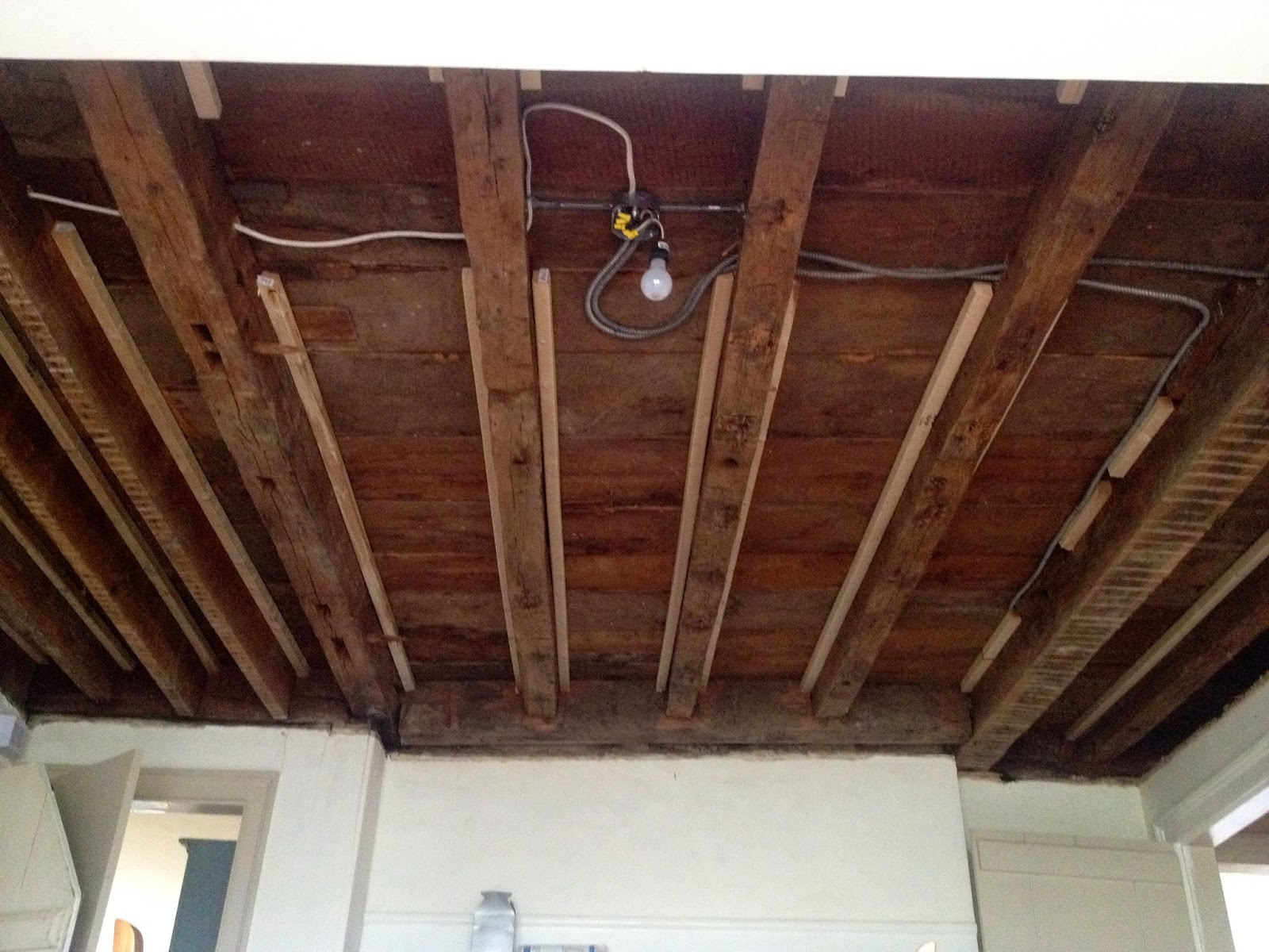 furring strips attached to beams