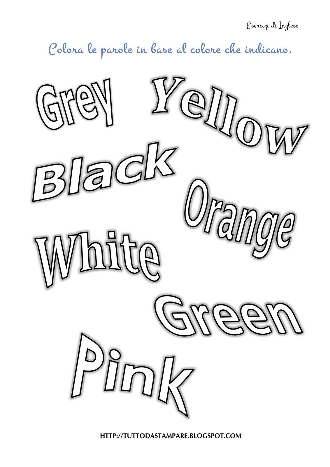 Eccezionale Colori in Inglese - Tutto da Stampare LD92