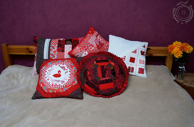 red patchwork pillows