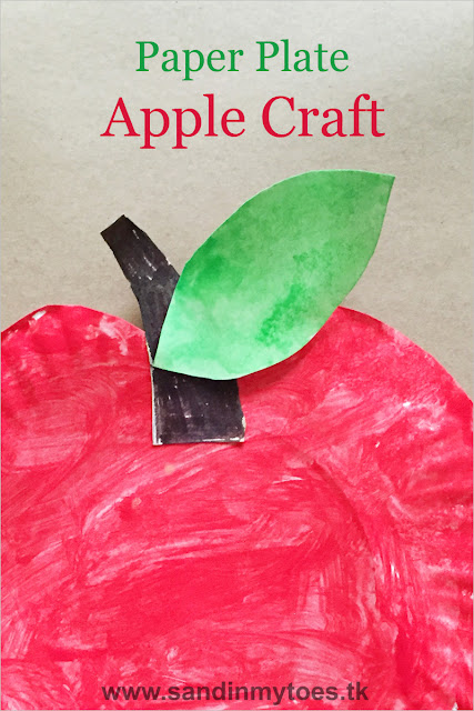 Simple paper plate apple craft for kids.