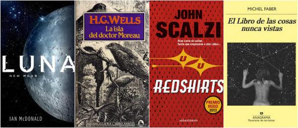 cubierta libros Luna, La isla del doctor Moreau, Redshirt y el libro de las cosas nunca vistas
