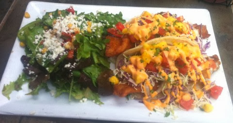 Cheesy Fish Tacos with Corn and Spinach Salad