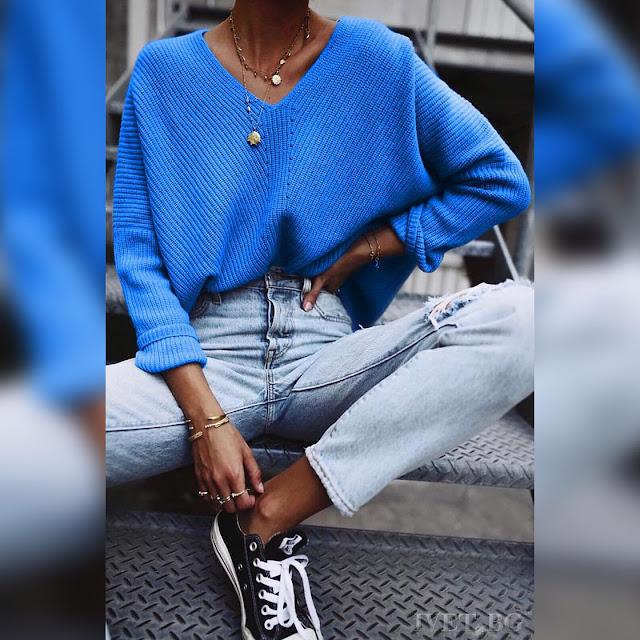 Εντυπωσιακό γυναικείο μπλε πουλόβερ ELODA