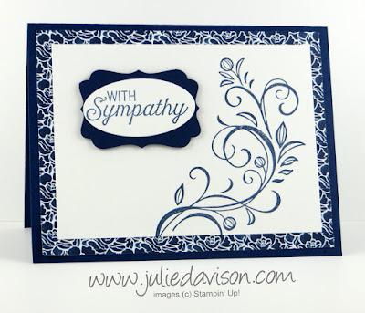 Stampin' Up! Falling Flowers Sympathy Card #stampinup www.juliedavison