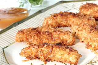 COCONUT CHICKEN TENDERS WITH  SWEET AND SPICY MANGO DIPPING SAUCE