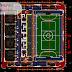 مخطط متكامل لبناء ملعب رياضي اوتوكاد dwg