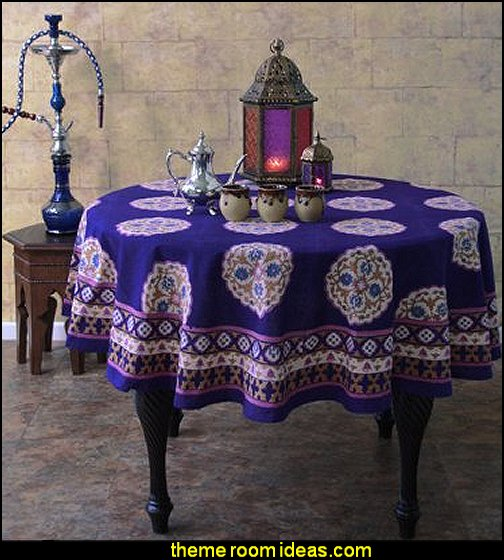 Sultans Palace Purple Blue Moroccan Vintage Round Tablecloth