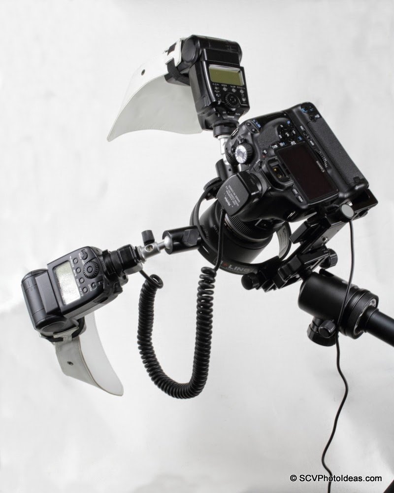 Full feature macro flash bracket w/ 2 speedlites on Canon camera