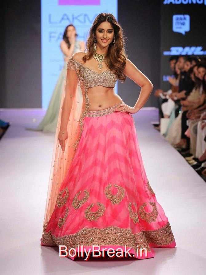 , ILeana DCruz in Anushree Reddy Lehenga Choli at Lakme Fashion Week