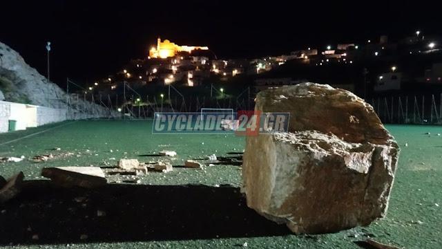 Κατολίσθηση σε γήπεδο - Έπεσε τεράστιος βράχος