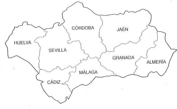 Trabajando en Educacin Infantil 10 mapas de Andaluca para colorear