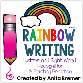 Rainbow writing literacy center activities to practice letters and sight words for Kindergarten and First Grade