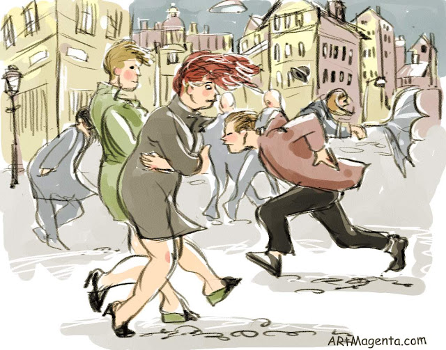 Windy on the street is a drawing by artist an illustrator Artmagenta