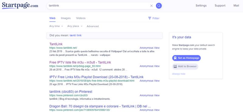 motore di ricerca Startpage per la privacy