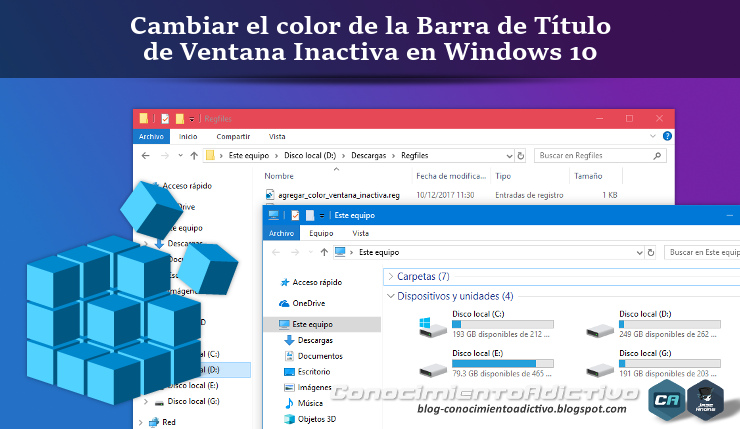 Cambiar el color de la Barra de Título de Ventana Inactiva en Windows 10