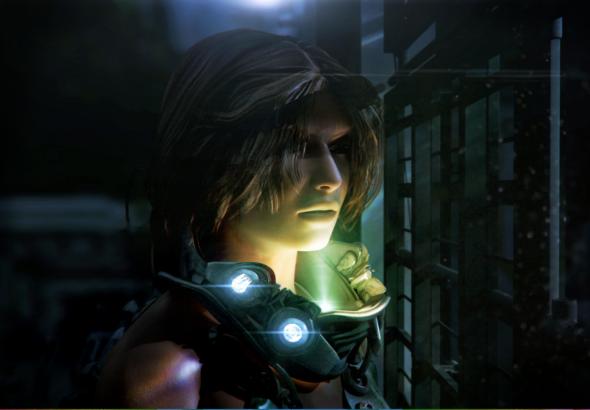 Protagonista de CAYNE vestida con un traje espacial