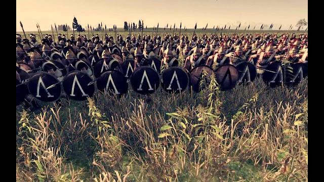 www.fertilmente.com.br - Uma Falange Espartana, com seus escudos na formação, eles sempre protegem a si e ao companheiro a sua esquerda
