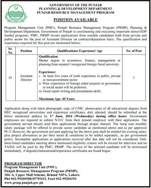 Government Jobs of Assistant Director in Planning Department Jobs in Lahore