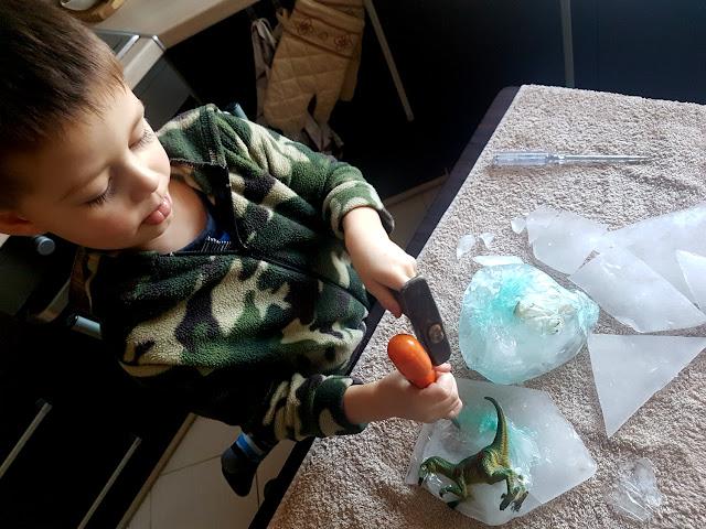 dinozaury zaklęte w lodzie - zabawa z dzieckiem
