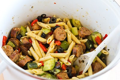 Pasta Salad with Italian Sausage, Zucchini, Red Pepper, and Olives found on KalynsKitchen.com