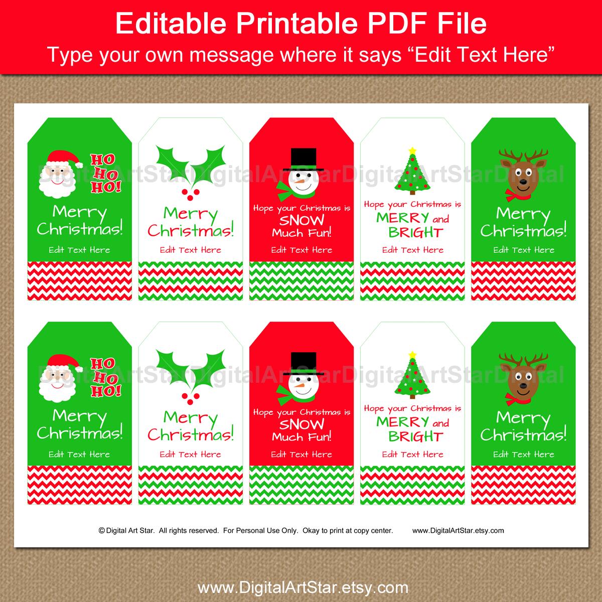 digital art star printable party decor printable christmas chevron gift tags with editable text. Black Bedroom Furniture Sets. Home Design Ideas