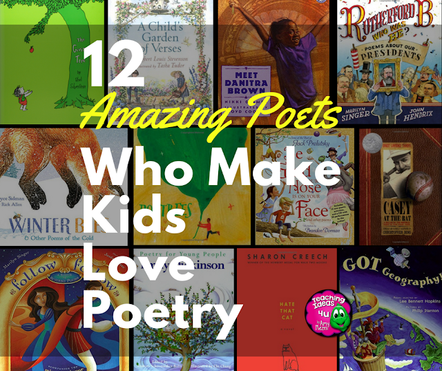 12 Amazing Poets Who Make Kids Love Poetry! Learn about the poetry of twelve different poets that upper elementary students enjoy reading. Suggested books are provided for each poet.