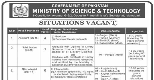 Ministry of Science & Technology Jobs 2019 Apply Now
