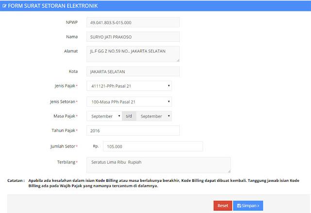 Cara Buat Kode Billing SSE Pajak - Surat Setoran Elektronik via DJP Online