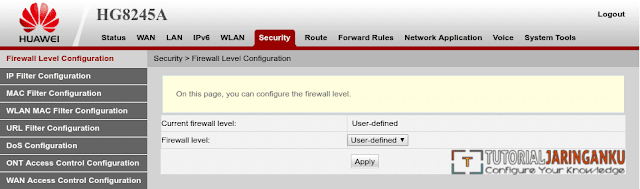Konfigurasi Firewall modem ONT Huawei HG8245A