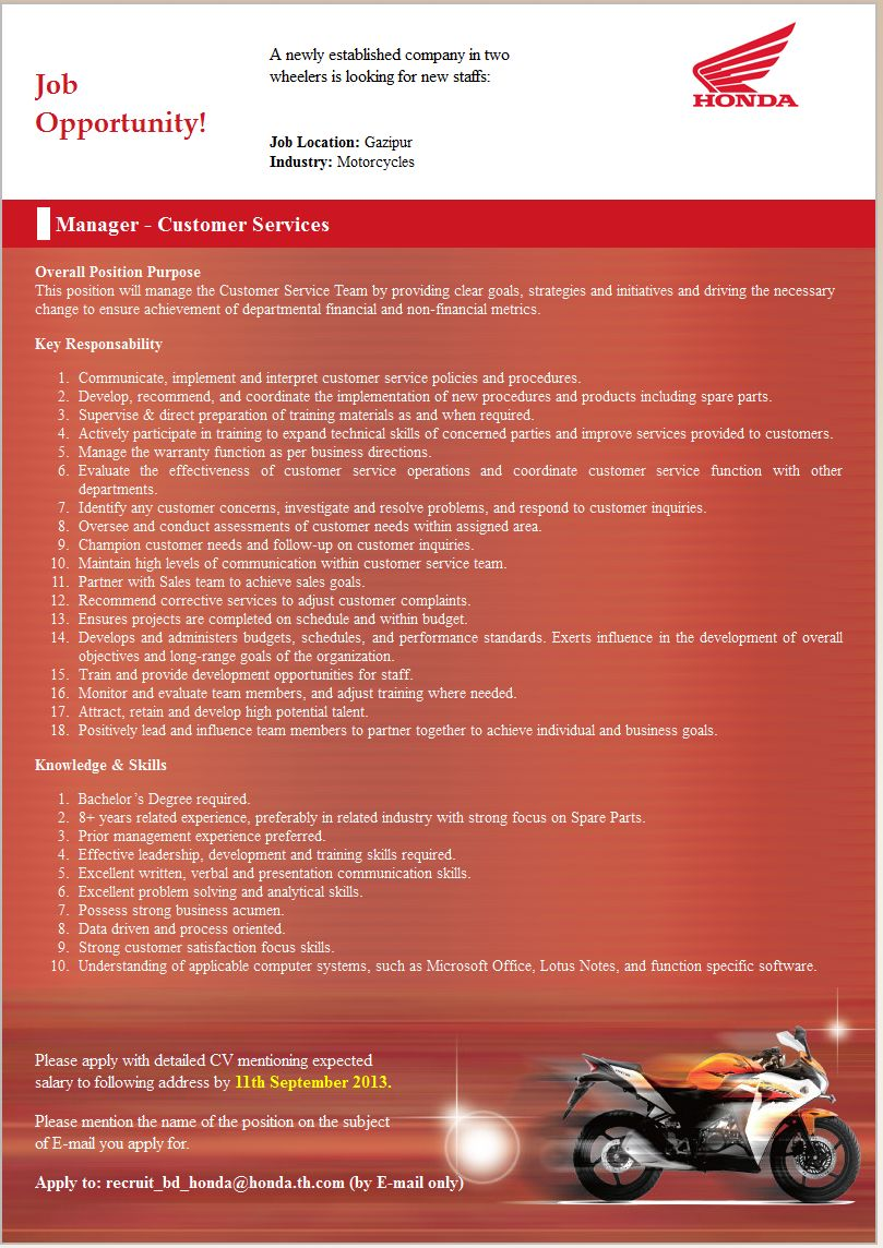 Bangladesh Honda Pvt Ltd Career 2013