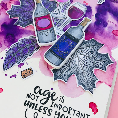 Wine Card by October Guest Designer Bobbi Lemanski | Wine A Little and Beautiful Leaves Stamp Sets by Newton's Nook Designs #newtonsnook #handmade