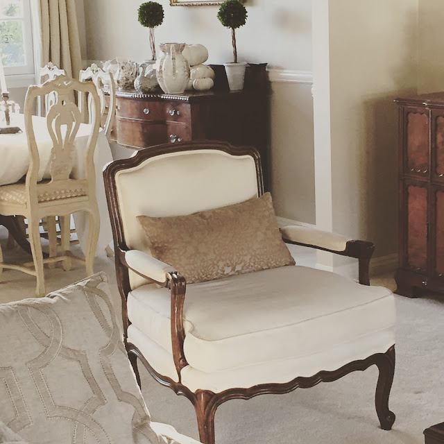 bergere chair cream linen Maison de Cinq