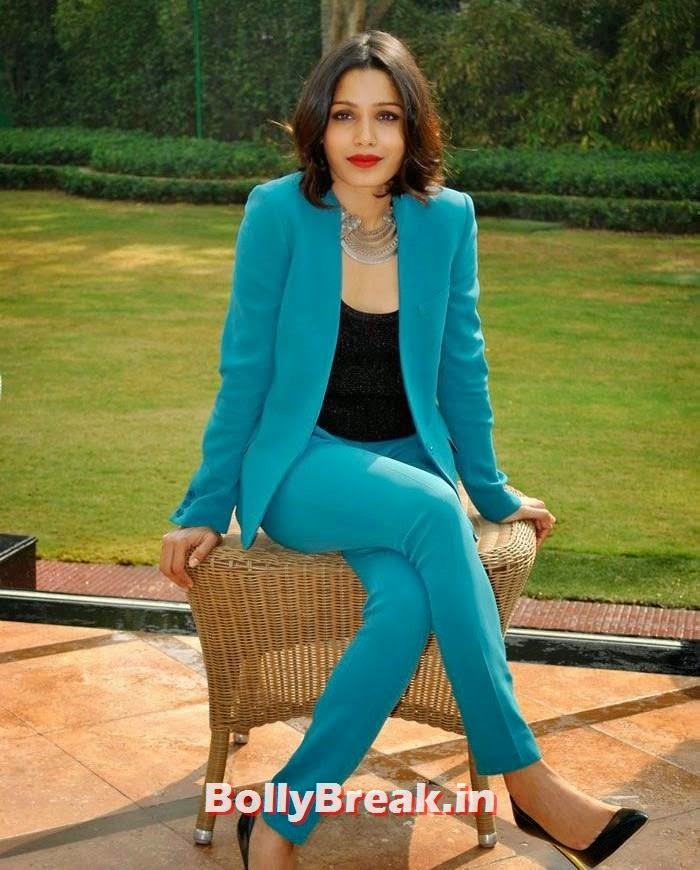 Freida Pinto, Freida Pinto in Green Coat Pant with Short Hair