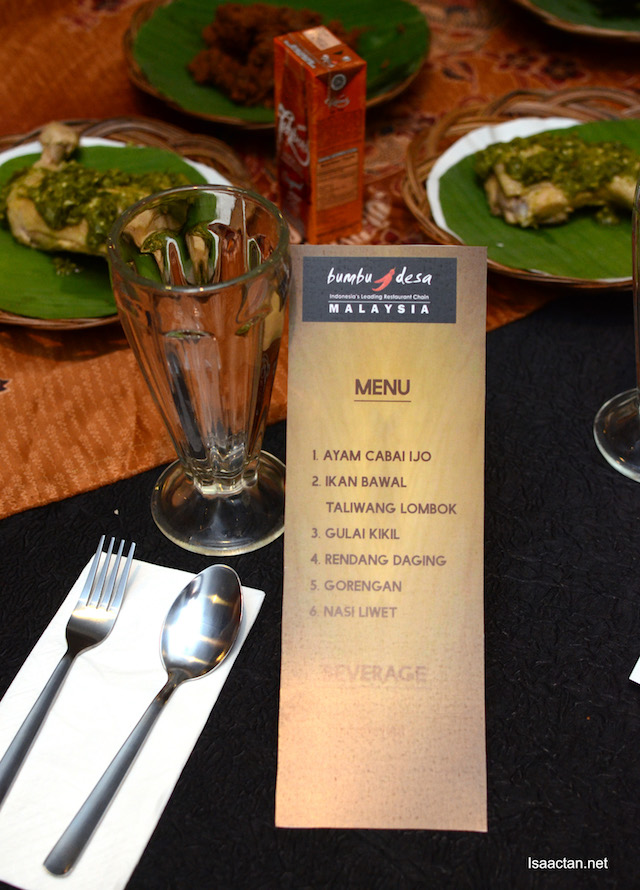 "Bumbu Desa's menu at ""Taste of Malaysia Airports"""