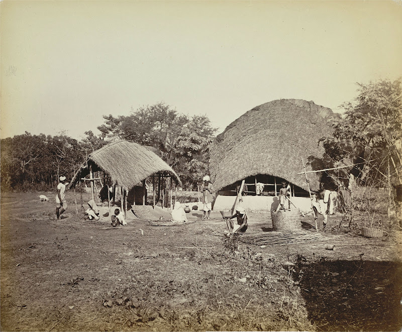 Village Scene in Bengal with Men and Women Engaged in Various Tasks - c1860