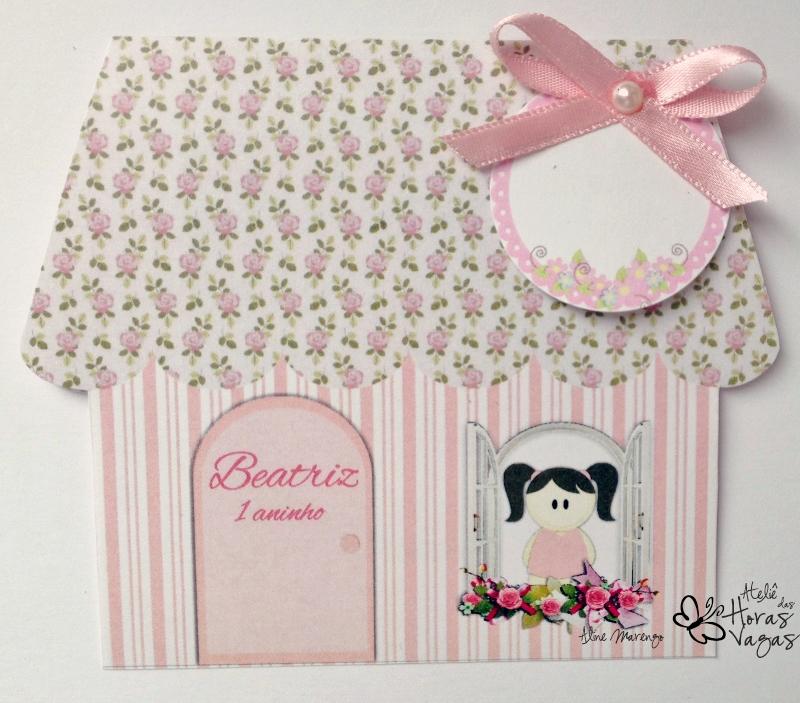 convite artesanal aniversário infantil casinha de boneca menina provençal floral rosa delicado