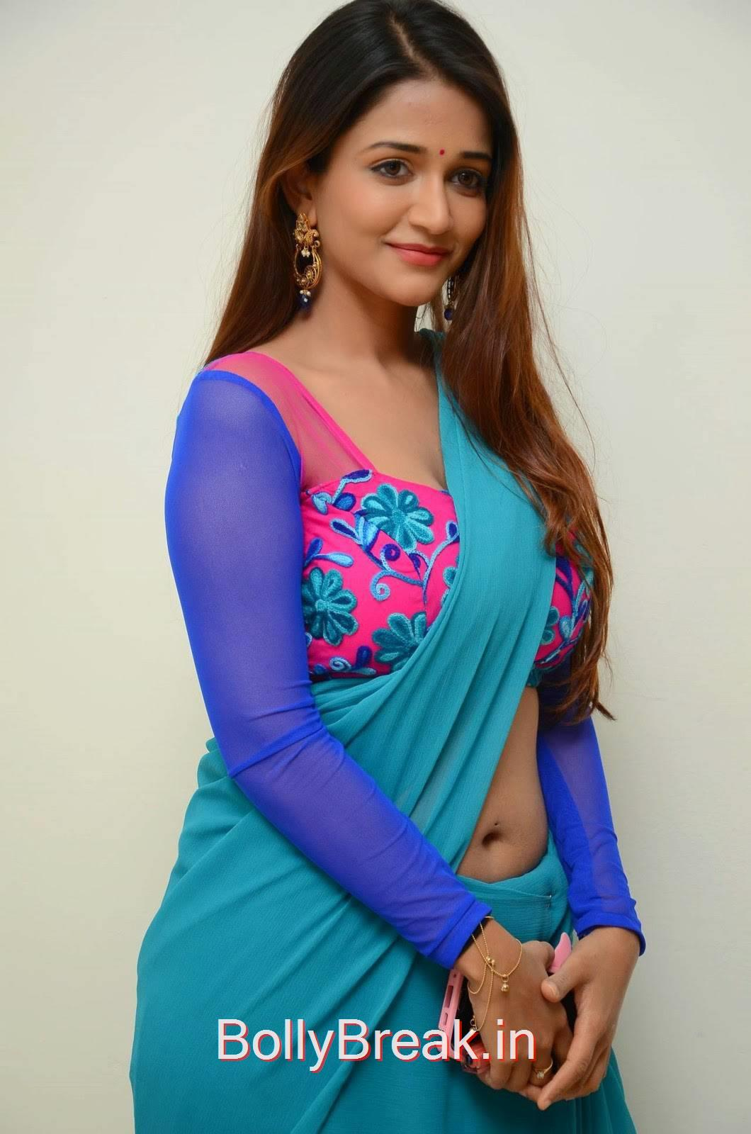 Anaika Soti Stills in Blue Saree, Anaika Soti Hot Pics from 365 Days Movie Trailer Launch