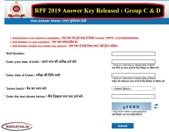 Railway Police Force (RPF) has issued the order of group C and D exam. You can download this ancestor by visiting the RPF Constable's official website : constable.rpfonlinereg.org