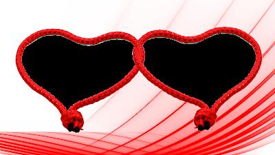 Moldura Dia dos Namorados 2 corações entrelaçados in red 6 png