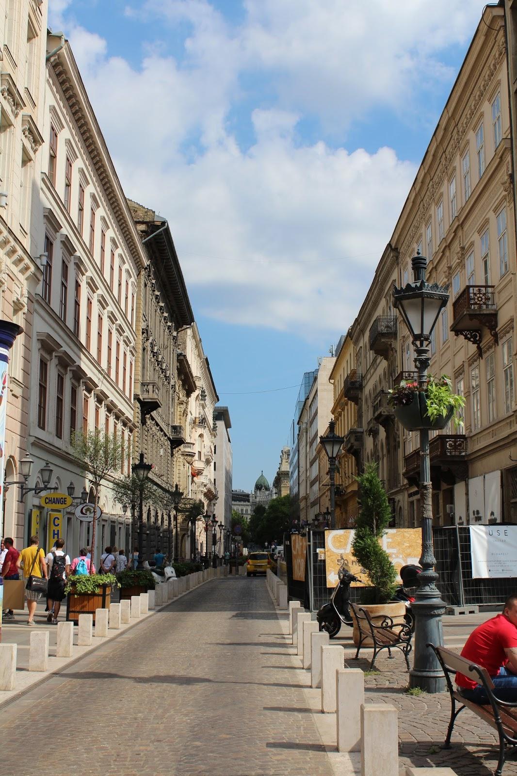 Shopping street in Budapest