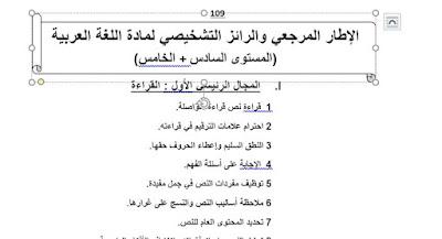 الإطار المرجعي والرائز التشخيصي لمادة اللغة العربية (المستوى السادس+المستوى الخامس)