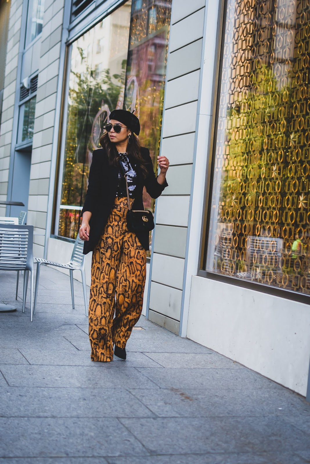 animal print, how to wear pyhthin print, party outfit, holiday outfit, zara python print pants, afshion, street style, beret outfit, sequin shell outfit, myriad musings