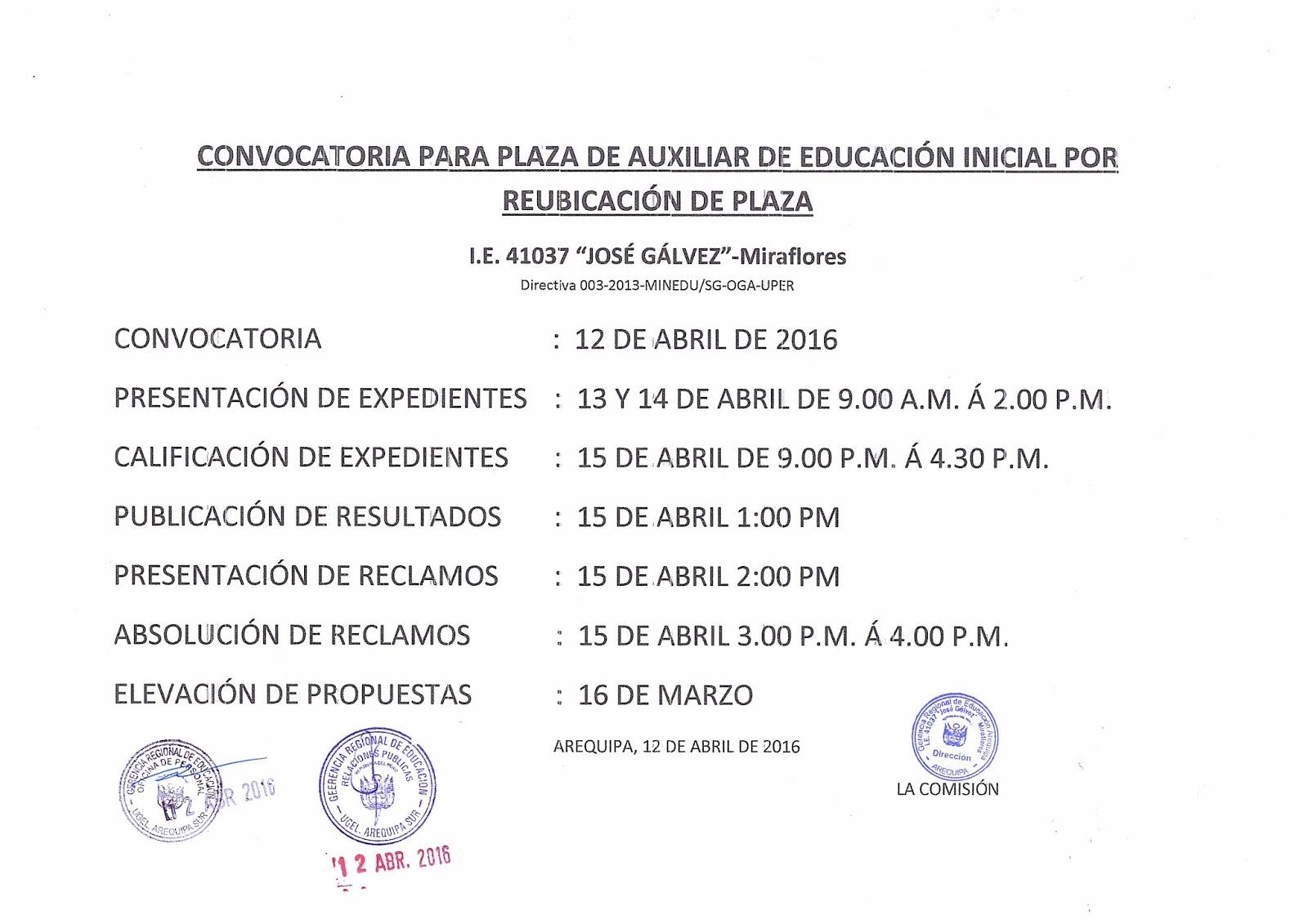 Convocatoria para plaza de auxiliar de educaci n inicial i Convocatoria para las plazas docentes 2016