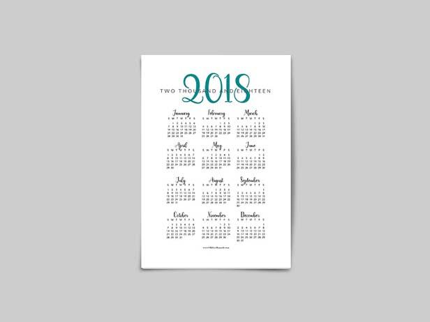 Free Printable 2018 Year at a Glance Calendar - Oh Hey Hannah
