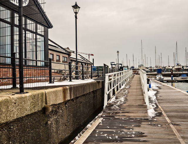 Photo of the last of the snow on the ramp at Maryport Marina