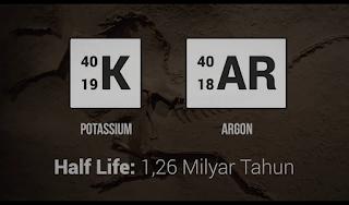 Half Life / Waktu Paruh Atom Potassium dan Atom Argon bisa Lebih Dari Sekitar 1,26 Miliyar Tahun