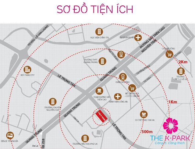 Liên kết tiện ích vị trí của The-K Park Văn Phú