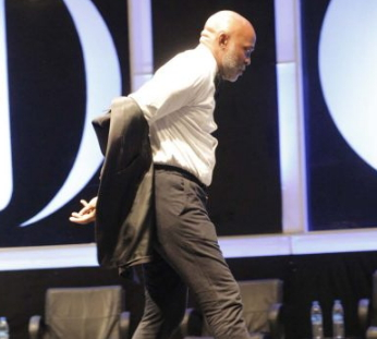 richard mofe damijo removes clothes stage
